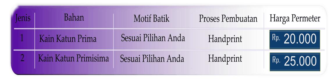 Seragam batik eksklusif dalam bentuk kain