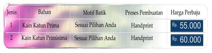 Seragam batik Padang siap pakai