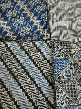 Indonesian batik fabric with indigo