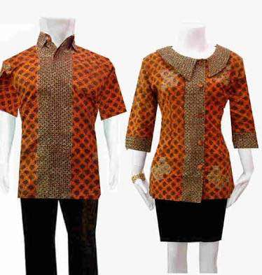 Seragam batik kombinasi polos