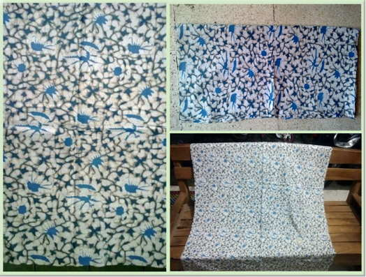 Jual kain untuk Seragam batik warna biru dengan tehnik cap asli