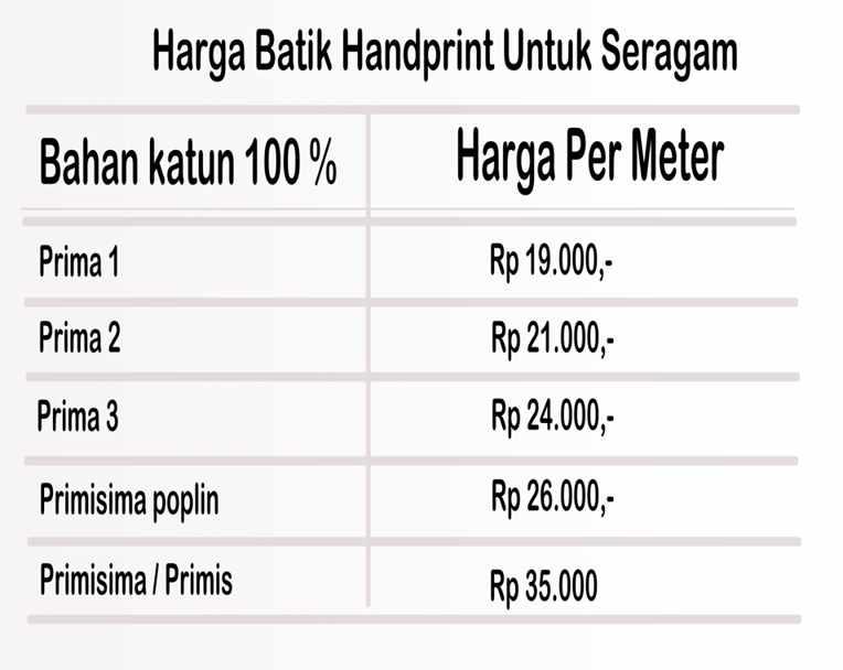Seragam batik dengan tehnik handprint minimal 200 meter