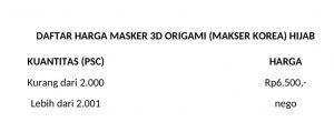 harga masker origami 3D